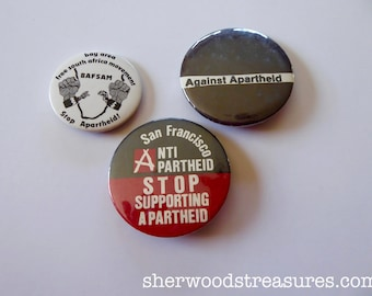 Lot of 3 Anti Apartheid Original Pinback Buttons Exc. Political Human Rights
