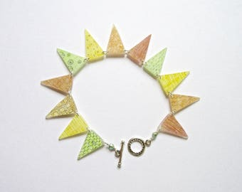Citrus Bunting Bracelet- hand painted shrink plastic and sterling silver