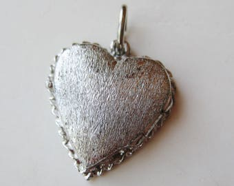Vintage Sterling Silver Sweetheart Heart Shaped Photo Locket Bracelet Charm Necklace Pendant