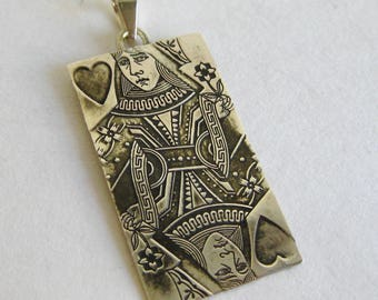 Vintage Sterling Silver Queen of Hearts Card Suit Necklace Pendant