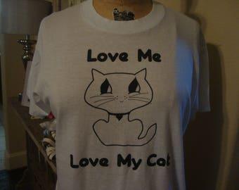 Vintage 80's Love Me Love My Cat Lover Soft Paper Thin 1980's T shirt Sz M