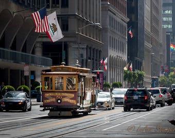 San Francisco,Trolley, California,California Street,Travel,Home Decor,Office Decor,Oversize,Panoramic,Wall Art