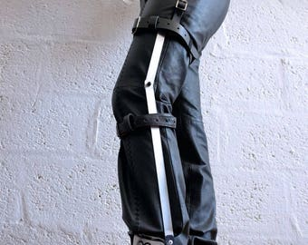 Leg Brace made from Aluminium with Real Leather Straps - mad max - apocalypse - fury road - wasteland - please read description for sizes