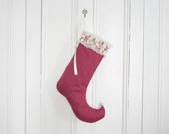 Elf stocking Flora Pink fushia with organza flowers ruffles ribbons Holiday decoration Girl's bedroom decor