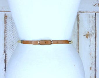 Vintage skinny tan/light brown elastic stretch chord brown leather buckle belt/woven jute twine chord elastic belt