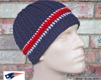 Beanie in Team Colors - Patriots - Navy/Silver Grey/Red Colors - Unisex / Mens Size M/L - Hand Crocheted Soft Warm Acrylic Yarn - Nice Gift