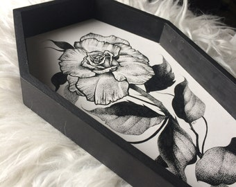 Original Pen and Ink Single Rose Coffin