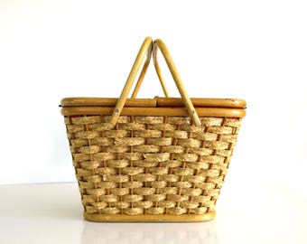 Vintage Woven Picnic Basket with Quilted Liner