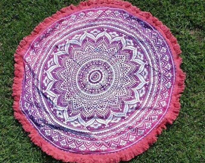 Pink Passion Mandala Roundie with Pink Fringe Mandala Tapestry Beach Blanket Yoga Mat Meditation Mat Dorm Decor Hippie Tapestry