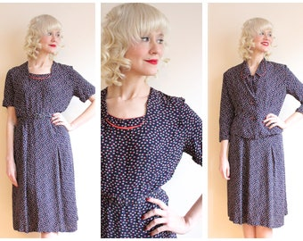 1940s Dress Set // Radiant Rayon Dress & Jacket // vintage 40s dress