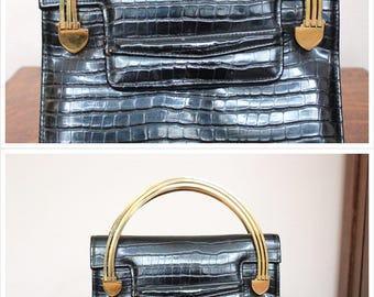 1940s Purse // Faux Croc Leather Handbag with Deco-style Handles // vintage 40s purse