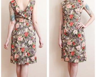 1950s Dress // Spring Bloom Sheath Dress // vintage 50s dress