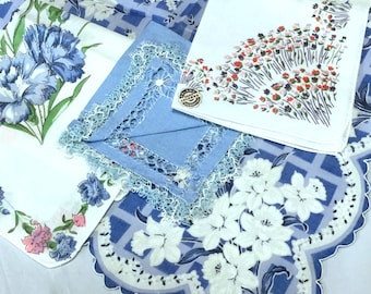 Lot of 4 Printed Hankies Blue White Theme Daffodils Carnations Hand Painted Cotton Linen Scalloped Edge Lace Excellent Condition