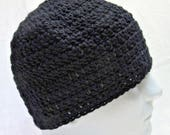 Black Wool Hat, Mans, Watch Cap, Goth, Night, Beanie, Thick, Warm, Womans, Crochet knit, Hunting, Cycling, Outdoor, Spring, Easter, Evening
