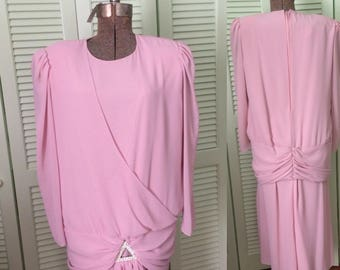 Vintage chiffon dress, special occasion, Mother of the Bride, rose, pink, size 10 or 12, wedding