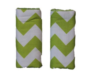 car seat strap covers, Lime Chevron  Strap covers, padded strap covers, car seat strap covers- Ships today