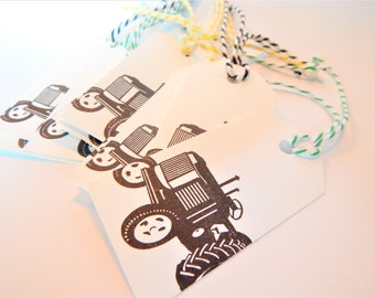 TRACTOR Tags - Qty 12 - Small Tag - 1 5/8 x 3 1/4 inches - Favor tag - Tractor birthday - Tractor gift tag - Black - yellow - green