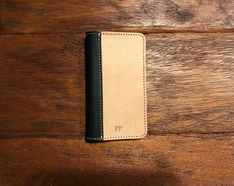 SECONDS -  The Heritage Bella Fino iPhone X Wallet Case - Black & Slate Gray | Leather iPhone X Case (PRE-MONOGRAMMED)