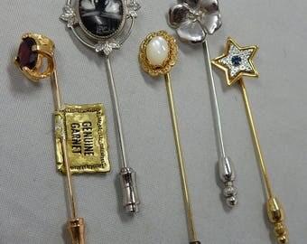 5 Vintage Stick Pins Hat Pins Stickpin Scarf Pin Lot