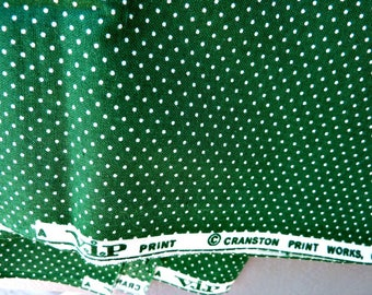 Green Pin Dot Fabric Yardage 100% Cotton Quilt Weight Christmas Décor or St Patricks Crafts