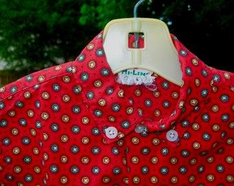 Vintage 50s Red Atomic Print Child Shirt by Hi-Line