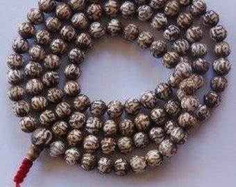 Carved Buddha of Compassion Conch Shell Mala 108 Beads for Meditation GM-03