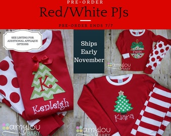 Pre-order - RED/WHITE APPLIQUE Christmas Pajamas - One Set - Baby, Toddler, or Child Jammies - PJs - Personalized