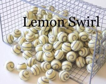 Felt Balls- Lemon Swirl- 10 Pk- 2.5cm