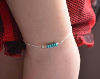 Real Turquoise Bracelet, Sterling Silver, Adjustable Length, Slide Closure, Box Chain, Gemstone Row, Jewelry for Teens