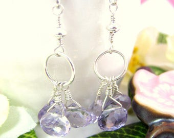Pink amethyst cluster dangle sterling silver earrings, Lavender pink amethyst hoop earrings