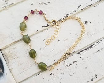 Dainty Gemstone Bracelet, Garnet and Vesuvianite Idocrase, Olive Green, Gold Fill Wire Wrapped Gems, Gemstone Jewelry, One of a Kind OOAK