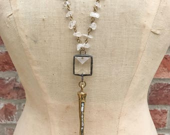 Mother of Pearl Spike Beaded Necklace