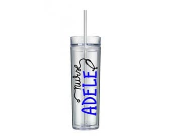 Personalized Nurse Name Tumbler 16 oz Cup with Straw and Lid, Nurse Gift, Best Nurse in the World, Nurse Water Bottle