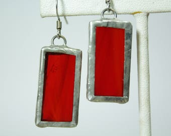 Red Stained Glass Earrings