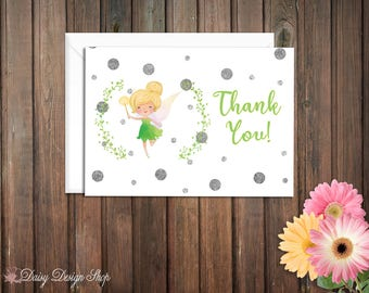 Thank You Cards - Tinkerbell and Laurel in Watercolor Style - Peter Pan Pixie - Set of 10 with Envelopes
