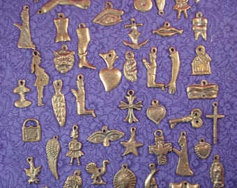 Milagros 50 Assorted Antiqued Gold Tone Mexican Milagros Charms ExVotos Wholesale