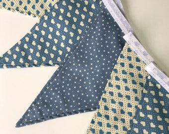 Baby Blue Bunting - 9 Flags - Handmade 100% Cotton - Stars and Hearts