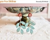 25% OFF SALE Boho chic patina leaf / branch dangle earrings with poppy red flower bead, Springtime in the Forest of Arden