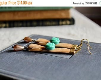 30% OFF Light buckskin velvet earrings with turquoise rose and ivory drop pearls, Maple Grove