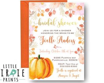pumpkin bridal shower invitation fall bridal shower invitation autumn bridal shower invitation watercolor pumpkin flowers invitation