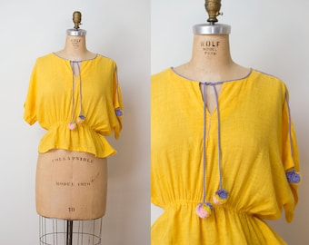 1970s Gauze Peasant Blouse / 70s Yellow Cropped Blouse With Pom Poms