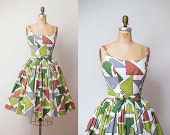 1950s Sundress / 50s Abstract Print Cotton Dress