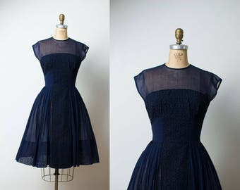 1950s R & K Originals Dress / 50s Navy Blue Sheer Dress