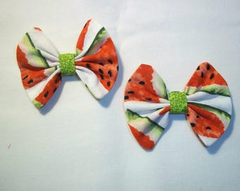 Watermelon Fabric Hair Bows Single or Pair
