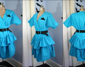 Totally Rad Vintage 1980s Turquoise Dress Tiered Ruffle Skirt Modern Size Small Medium by Anne Scott Ltd New Wave Retro