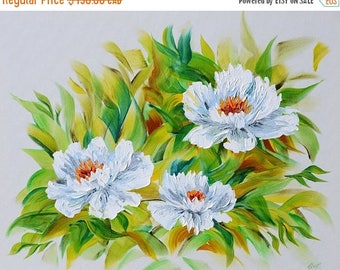 70% off Painting ORIGINAL Colorful painting flower impasto Textured painting Modern painting bright colors white flowers painting ready to h