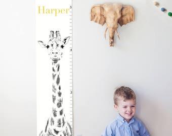 Custom/ Personalized giraffe canvas growth chart - boy, girl, or gender neutral nursery, zoo/safari/animal decor, baby shower gift