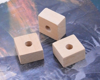 wood, 20 wood blocks, square wood blocks, large hole wooden beads, unfinished wood beads, large wood pendant, wood cube beads 25x25x14mm