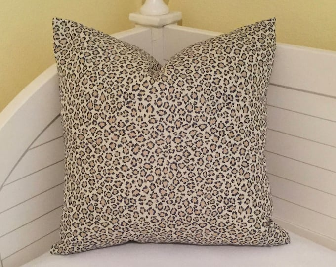 Navy and Beige Animal Print Designer Pillow Cover - Square, Euro and Lumbar Sizes