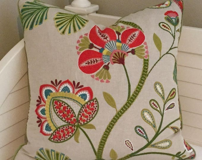Jane Churchill, Cowtan and Tout, Carimbo Red and Green, Embroidered  Designer Pillow Cover, FREE SHIPPING